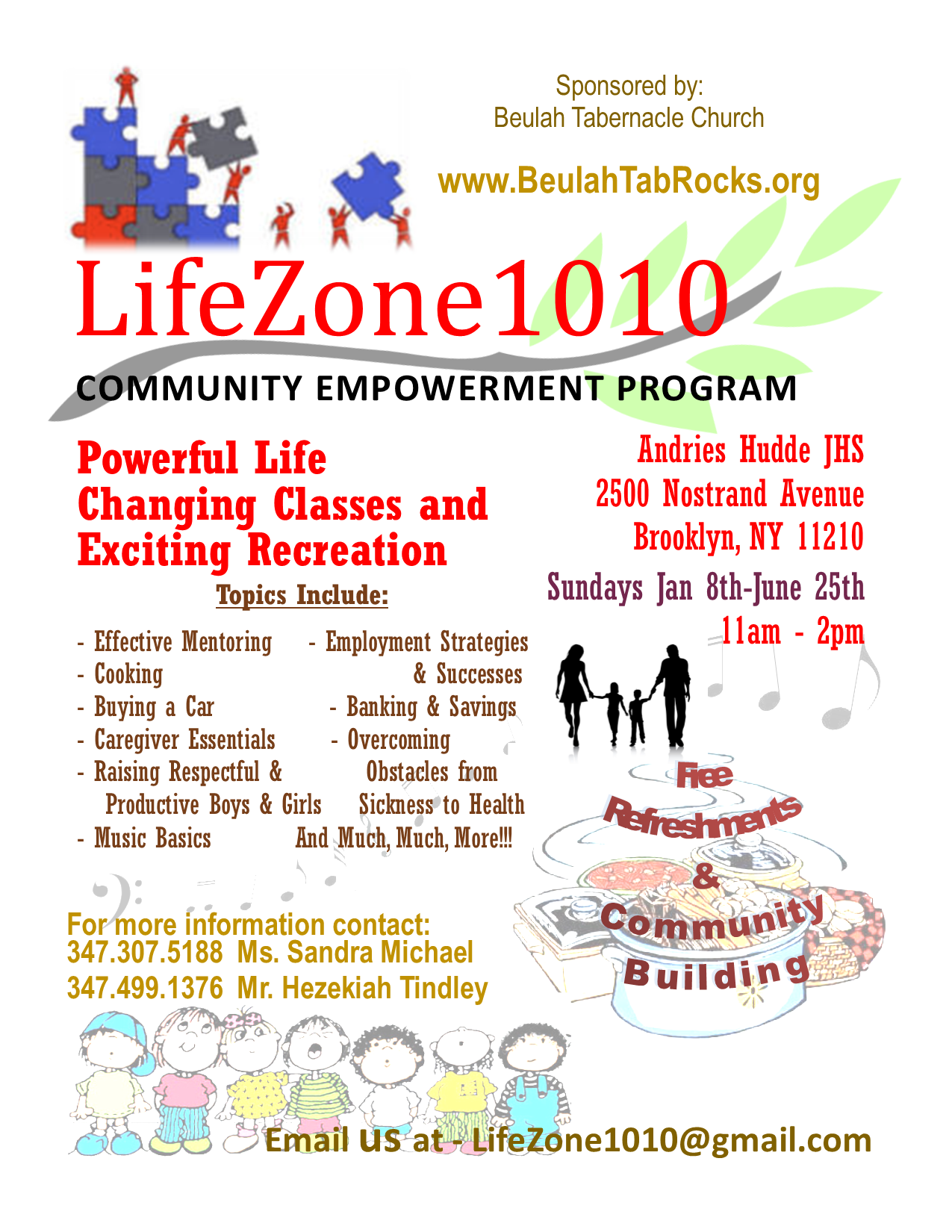 LifeZone1010 Sundays at Hudde Jan-June 2017 @ Andries Hudde Junior High School | New York | United States