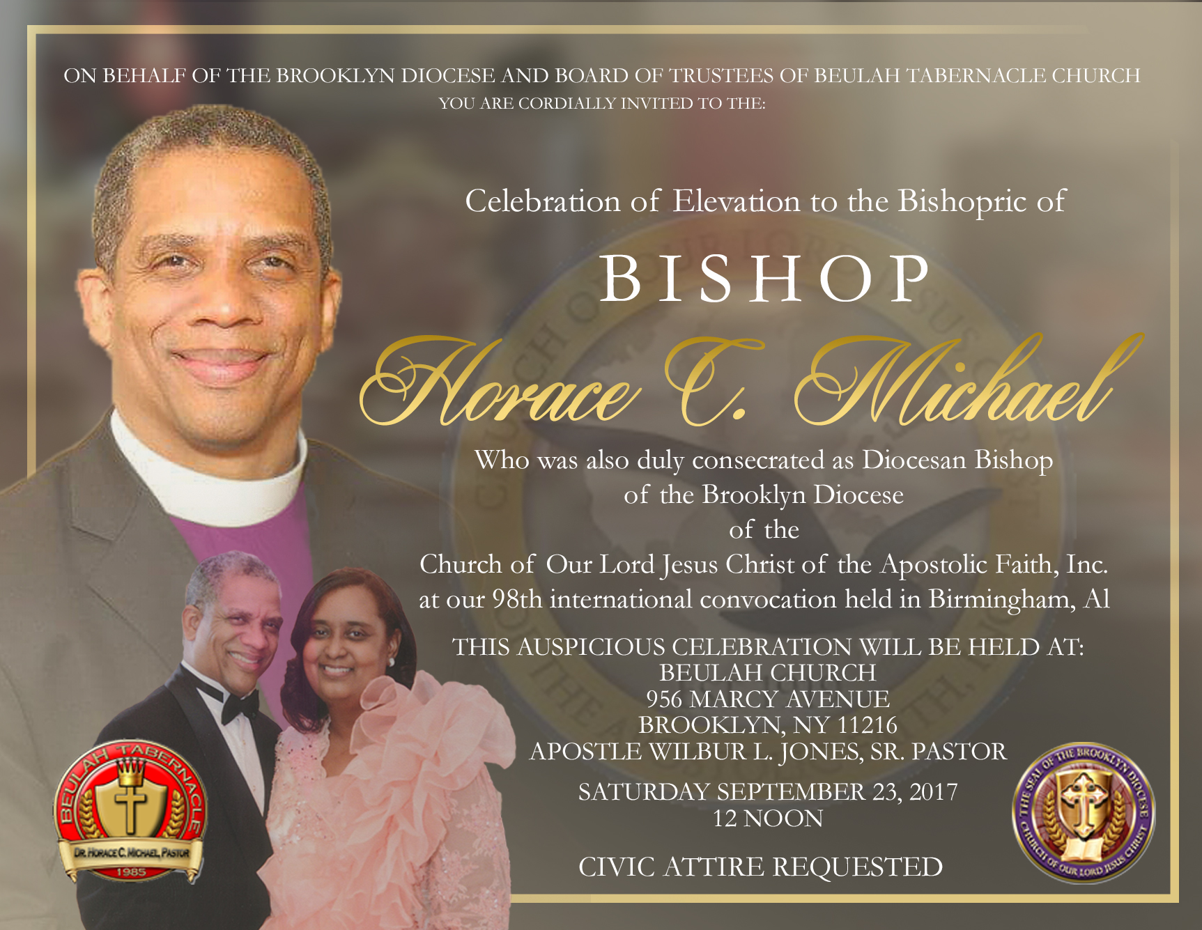 The Brooklyn Celebration of Elevation to the Bishopric @ Beulah Church of God in Christ Jesus | New York | United States