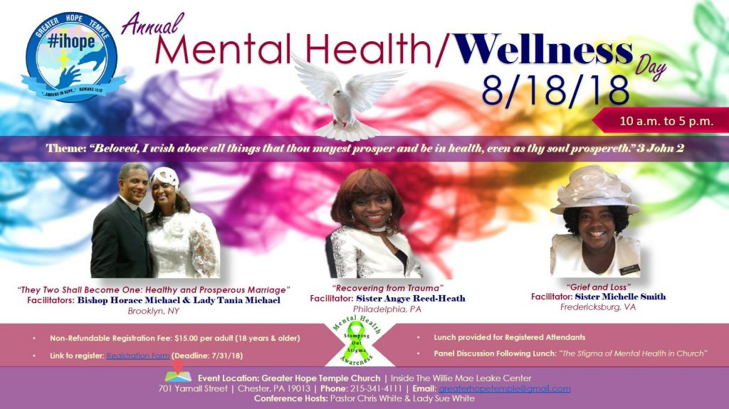 Annual Mental Health/Wellness Day at Greater Hope Temple Church @ Greater Hope Temple Church (Inside The Willie Mae Leake Center) | Chester | Pennsylvania | United States